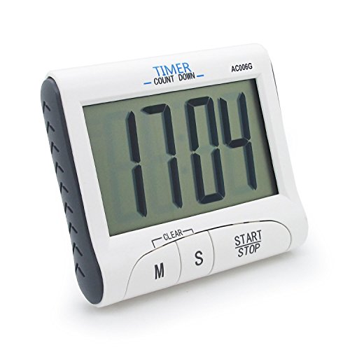 New Years Countdown Clock - Kings & Queens New Version! Large Display Electronic Digital Countdown and Count up Loud Alarm Kitchen Timer / Sport Stopwatches with Clock Function (Magnet and Stand) AC006-1G