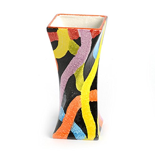 Italian Square Vases - Italian Dinnerware - Small Twisted Vase - Handmade in Italy from our POP Nero Collection