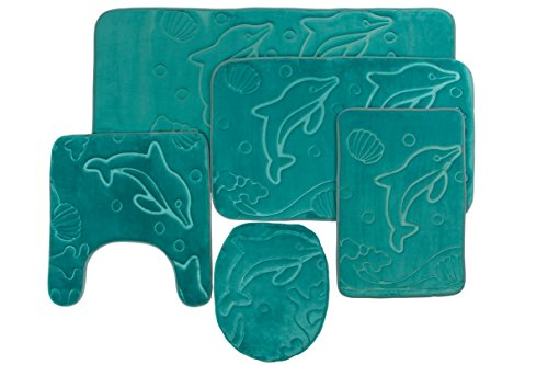 5 Piece Bathroom Rugs Set - Soft Non Slip Memory Foam Large Bathroom Mats - Perfect Combination of Luxury and Comfort - Teal Dolphins - Harley Davidson Bathroom Rugs
