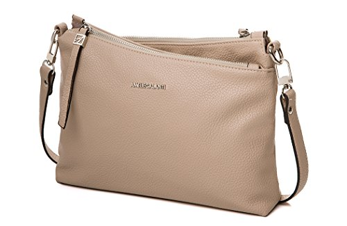 Multi Pockets Satchel for Women Crossbody Bag Shoulder Purse women tote bag Pu Leather by AMELIE GALANTI