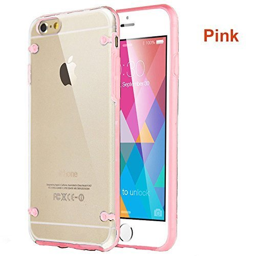 Deet® Bumper pour Apple iPhone 5/5S Bumper avec arrière rigide transparent rose.