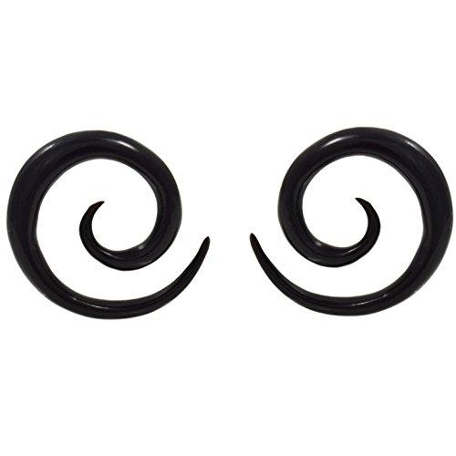 Black Horn Plugs Gauge - Pair (2) Black Buffalo Horn Spiral Tapers Organic Ear Plugs Stretchers 8G 3mm