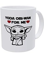 Willcallyou Baby Yoda Obi Wan For Me Heart, Valentines Day for Husband, Boyfriend, Wife, Girlfriend Funny 11 Ounces White Coffee Mug to My Valentine