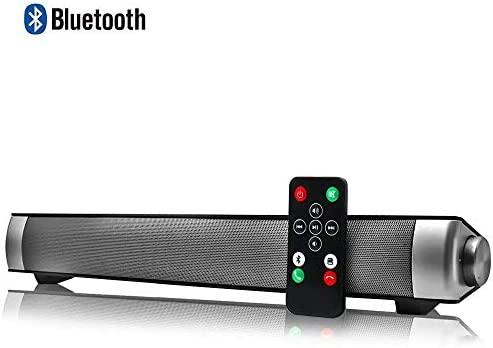 Altavoces Bluetooth PC, Barra de Sonido para TV Mini Soundbar Bluetooth 4.2 Inalambricos con Cables RCA/AUX/USB,Plata, 15.7 Pulgadas