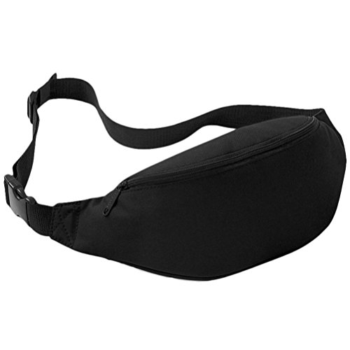 Perman Unisex Outdoor Sports Running Oxford Solid Color Stylish Waist Pack Bag 2L (Black)]()