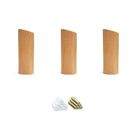 Amazon.com: 3 ganchos de madera natural para abrigo, montaje ...