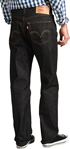 Straight Leg Pants Button Fly (Levi's Men's 501 Original Shrink-to-Fit Jeans,  Black STF, 31WX30L)