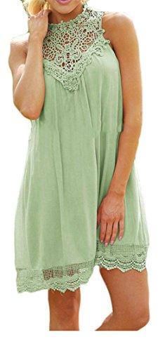 Delle Mini Verde Pieghe Cromoncent Casuale Vestito Cava Altalena Donne A Senza Pizzo Maniche xFCvSnqxfw