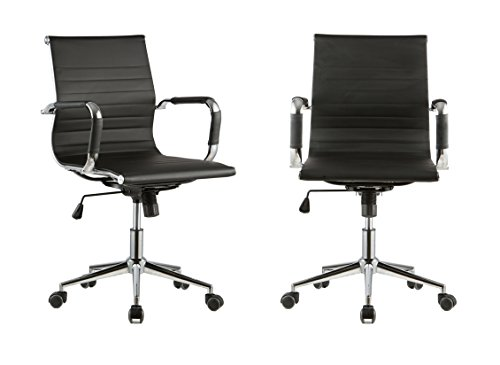 Price comparison product image 360° Swivel Height Adjust Ergonomic Ribbed High Back Executive Office Pu Leather Computer Desk Chair Black Set Of 2