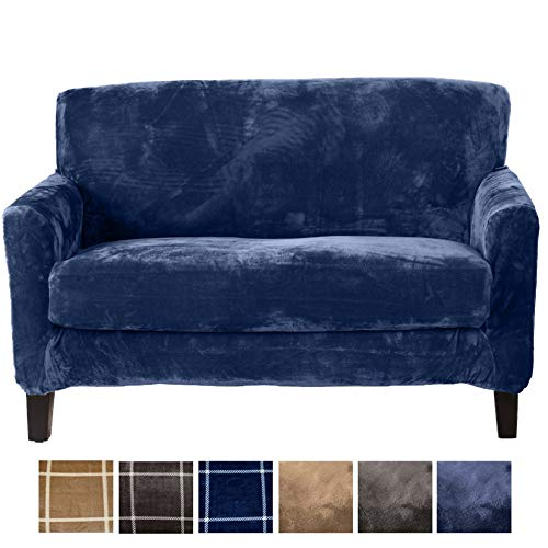 (Great Bay Home 2 Piece Modern Velvet Plush Strapless Slipcover. Stretch Furniture Cover. Sorrento Collection (Loveseat, Navy - Solid))