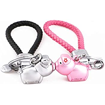 MILESI Magnetic Destined Kissing Piggy Keychain Valentine s Love Present  for Couples (silver pink) ba9a4c2460