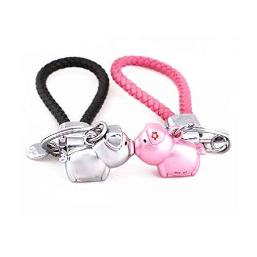 MILESI Magnetic Destined Kissing Piggy Keychain Valentine's Love Present for Couples (silver pink)