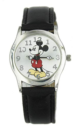 - Women Disney Mickey Mouse Dainty Silver Tone Black Leather Watch