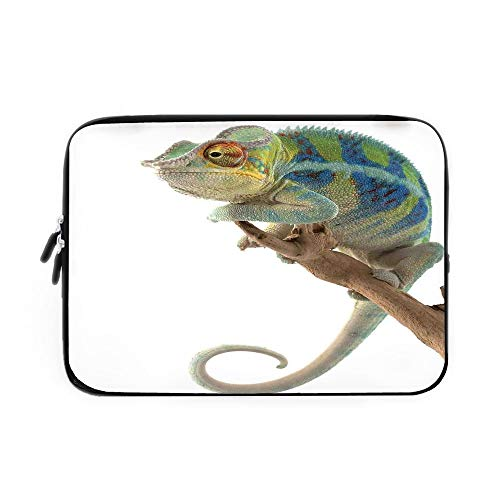 Reptile Laptop Sleeve Bag,Neoprene Sleeve Case/Exotic Panther Hanging from Branch Watching The World Wild Life Nature Animal Earth Print Decorative/for Apple MacBook Air Samsung Google Acer -