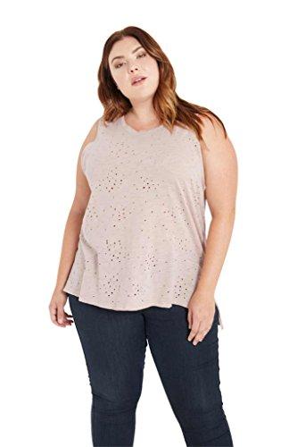 Womens Fashion Trendy Sleeveless Distressed Side Slit Plus Cotton Shirt Tank Top USA BLUS 2XL