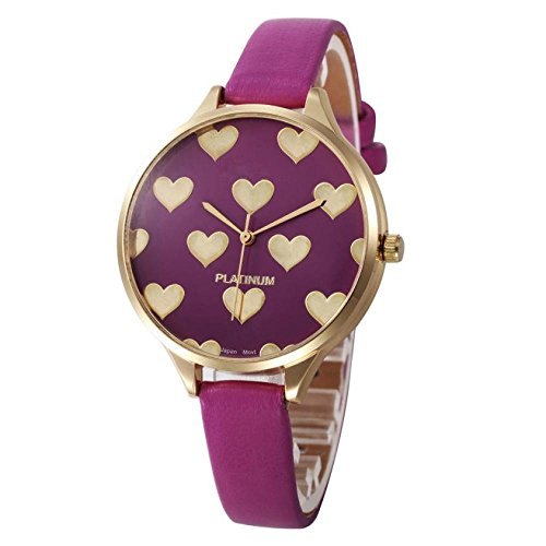 (Balakie Women's Watch, Ladies Watch Casual Heart Pattern Small Faux Leather Quartz Analog Wrist Watch Xmas Gift (Hot Pink,)