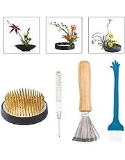 WANDIC Flower Frog Set, 4 Pcs Ikebana Tools Round Flower Holder & Needle Straightening Tool & Cleaning Brushes for Floral Arrangement Art