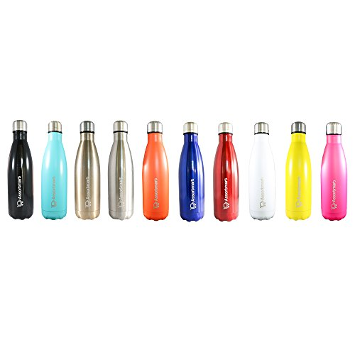 Insulated Water Bottle 17oz Double Wall Stainless Steel BPA Free Keep Your Drink Hot or Cold All Day Long Includes Cleaning Brush