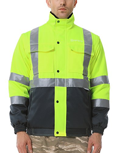 Pack Bomber (ororo Men's Heated Jacket ANSI Class 2 High Visibility Safety Bomber Jacket with Battery Pack(Large))