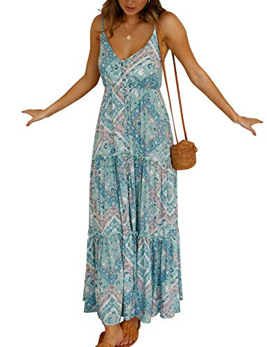 (Blooming Jelly Womens Summer Dresses Sexy V Neck Sleeveless Spaghetti Strap Button Down Ruffle Long Maxi Dress(L,Blue)