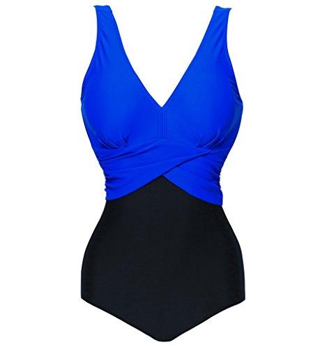Eternatastic Women's Retro V-Neck Swimwear One Piece Swimsuit Monokini M Blue