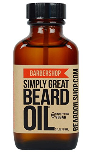 Simply Great Beard Oil – BARBERSHOP Scented Beard Oil – Beard Conditioner 3 Oz Easy Applicator – Natural – Vegan and Cruelty Free Care for Beards – America's Favorite