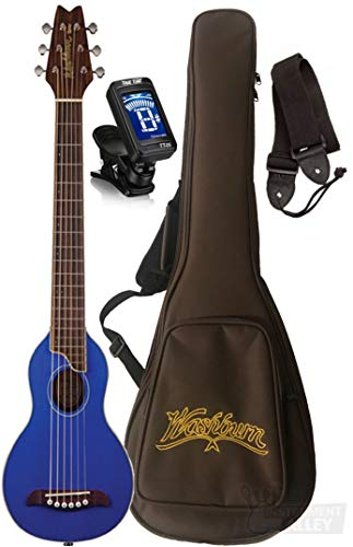 Washburn RO10SK-A Rover Spruce Top Acoustic Travel Guitar with Bag (Translucent Blue) ()