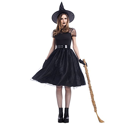 Spell Caster Costumes (Slocyclub Women Black Mesh Witch Costume Spellcaster Dress)