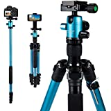 "MACTREM Tripod DSLR SLR Tripod, 62.5"" Light-Weight Aluminum Alloy Camera Tripod Phone Tripod with Phone Holder, 360 Degree Ball Head, Detachable Monopod, 33lbs Load with Carry Bag"