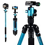 "MACTREM Tripod DSLR SLR Tripod, 62.5"" Light-Weight Aluminum Alloy Camera Tripod Phone Tripod"