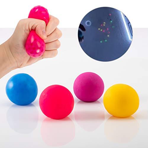 4 팩 형광 끈끈한 타겟 반대로 스트레스 공-GLOBBLES SQUISH 안절부절 스트레스를 끈끈한 벽에서 공 4 색상 불안 릴리프 압력 장난감 모두 어린이 및 성인(세탁기 사용하기 전에)