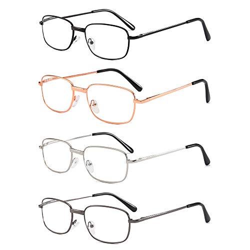 4 Pairs Reading Glasses Quality Spring Hinge Readers Men and Women Thin Rectangular Lens Metal Glasses for Reading with Case & Cloth from KoKoBin