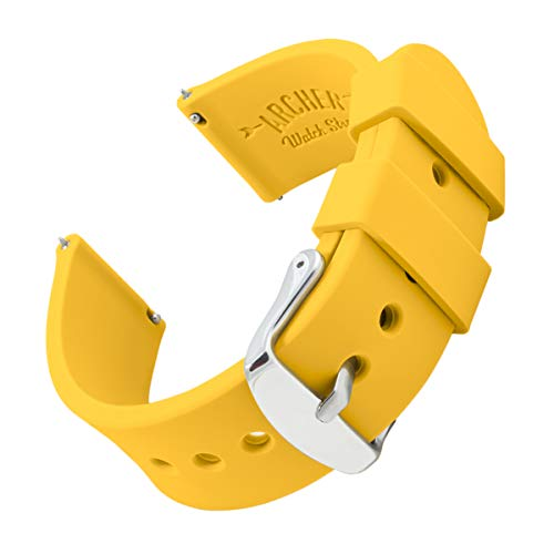 Archer Watch Straps Silicone Quick Release Soft Rubber Replacement Watch Bands for Men and Women (Naples Yellow, 22mm)