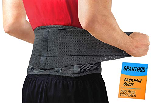 Back Brace by Sparthos - Immediate Relief for Back Pain, Herniated Disc, Sciatica, Scoliosis and More! – Breathable Mesh Design with Lumbar Pad – Adjustable Support Straps – Lower Back Belt -Size Med