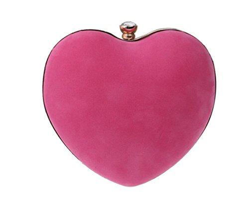 YUEER Melocotón En Forma De Corazón Gamuza Bolso Bolso Cosmético Cena Embrague Hombro Mensajero Bolso De La Cadena,Pink Pink
