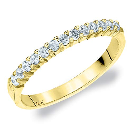 .25CT Destiny Shared Prong Diamond Wedding Band in 10K Yellow Gold - Finger Size 7.25