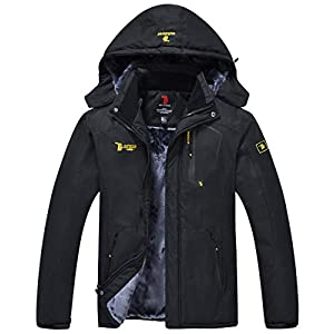 donhobo Men's Fleece Jacket Winter Waterproof Warm Ski Jackets Windproof Coat with Zip Pockets Hood