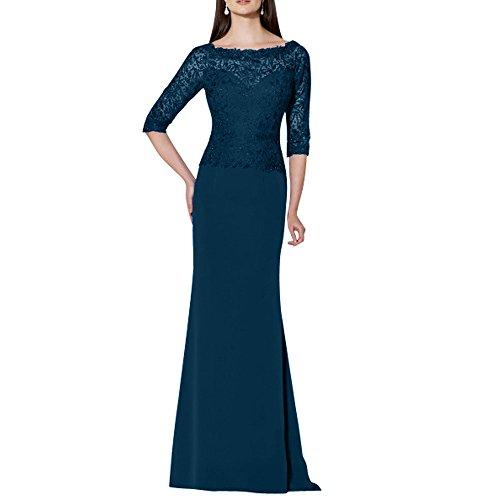 Etuikleider La Abendkleider Langes Brautmutterkleider Festlichkleider Spitze mia Chiffon Brau Tinte Abschlussballkleider Blau zXrzq