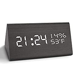 Wooden Digital Alarm Clock with USB Charger, Electronic Led Desk Clock with Time/Temperature/Humidity Display for Bedroom, Kids (3 Alarm Settings, 3 Levels Brightness, Sound Contral) (Black)