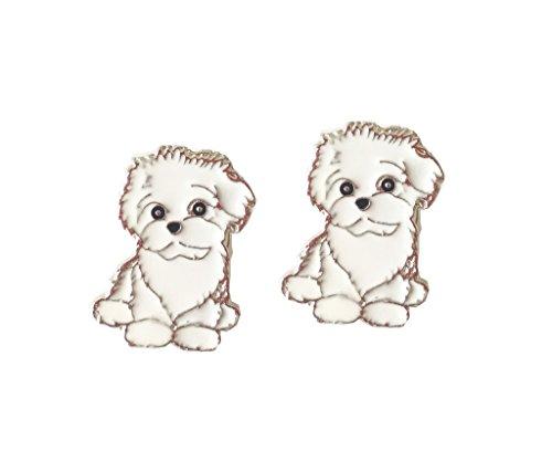Lovely Pug Dog Brooch Pet Brooch Corsage Metal Pin Badge Dog ID Tags Christmas Birthday Gift 2PCS (Bichon Frise)