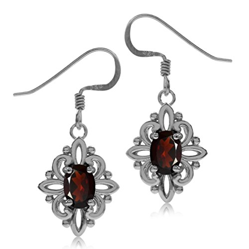 (1.8ct. Natural Garnet White Gold Plated 925 Sterling Silver Victorian Style Flower Dangle Earrings)