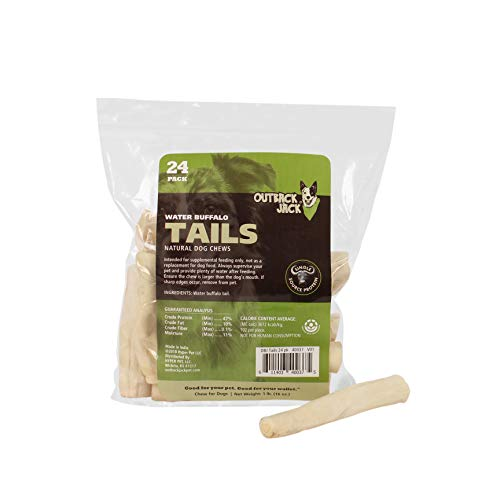 Outback Jack Water Buffalo Tails 100% Natural Dog Treats, 6 Inch, 16 Oz. Bag