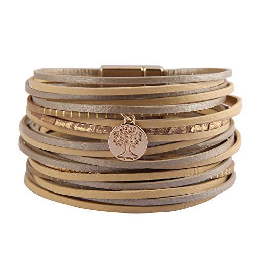 (AZORA Ladies Leather Cuff Bracelet Multi Strands Leather Wrist Wrap Bracelets Tree of Life Charm Wire Bangle Jewelry for Women Girls Prime)