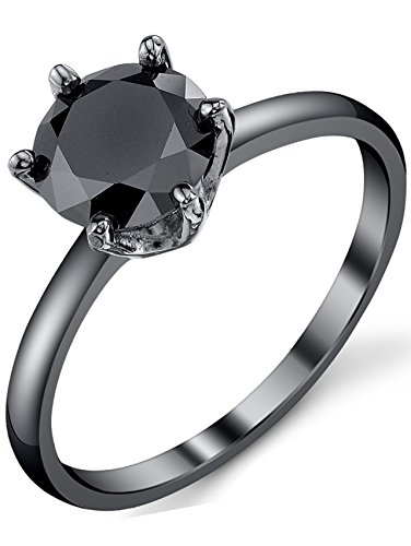 Black Sterling Silver 925 Solitaire Engagement Wedding Ring with 1.25 Carat Round Black Cubic Zirconia