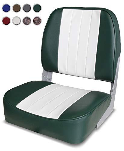 - XGEAR Low Back Boat Seat, Fold-Down Fishing Boat Seat (White/Green)