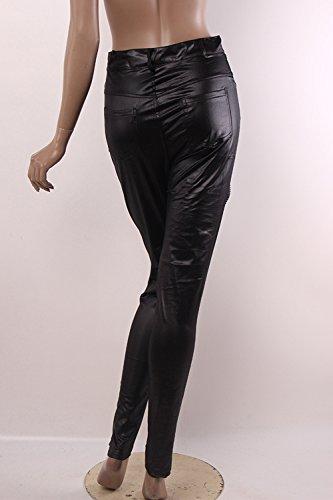 PU Slim lápiz elástico pantalones Yacun mujer Black
