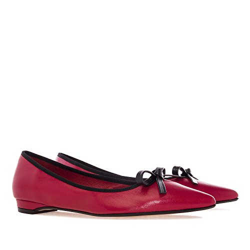 Andres Machado.Maria.Ballet Flats In Leather.Made In Spain.Womens Small&Big Szs:US 2 To 5 -US 10.5 To 13 Red Leather 86fC0ToJNn