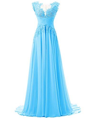 Dresstells®Vestido De Gala Fiesta Atractivo Elegante Largo Con Aplicaciones De Gasa Azul