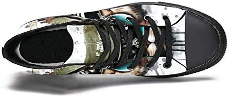 TIZORAX Cool Kat Luisteren Muziek Hoge Top Sneakers Mode Kant tot Canvas Schoenen Casual School Wandelen Schoen voor Mannen Teen Jongens