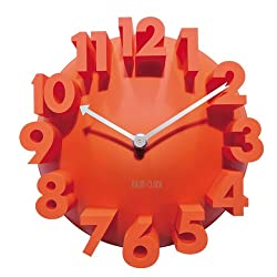 3d Big Digital Modern Contemporary Home Office Decor Round Quartz Wall Clock Orange